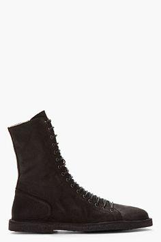 Ann Demeulemeester Black Pebbled Leather Nabuk Boots for men | SSENSE