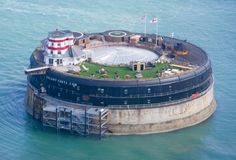 solent forts no man's fort in portsmouth, england. old fort that has been converted to a hotel at sea.