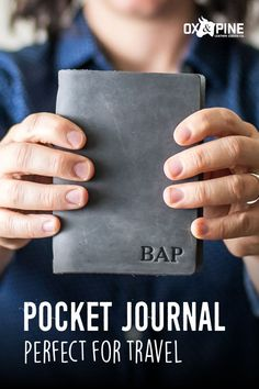 Our pocket journal is just the right size for taking on daily outings or across-the-world adventures. Pick from a variety of colors and closure types and customize it just for you Leather Gifts, Handmade Leather, Leather Journal, Graduation Ideas, Ox, Her Style, Travel Inspiration, Journals, Pine