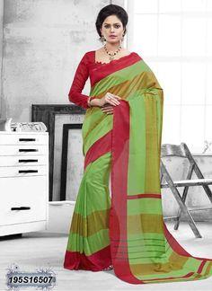 Immaculate Green Coloured Bhagalpuri silk casual Saree