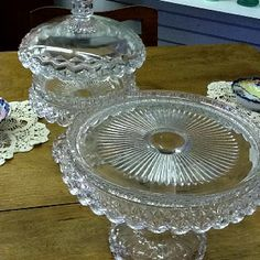 Matched set of 100 year old cut glass pedestal cake plate and fruit compote with lid.