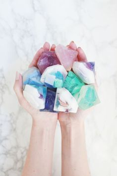 DIY Gemstone soap- cool for craft and bath time!