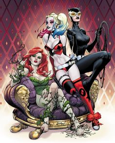 Harley Quinn, Hiedra Venenosa, Gatúbela. Batman