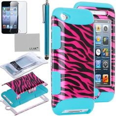 Pandamimi ULAK(TM) 3-Piece Defender Hybrid High Impact Rubber Case Cover in Rose Pink Zebra Pattern and Inner Soft Blue Silicone Shell for iPod Touch 4th Generation + Screen Protector + Stylus by ULAK, http://www.amazon.com/dp/B00DE2U59W/ref=cm_sw_r_pi_dp_XOUVrb1BA58KH