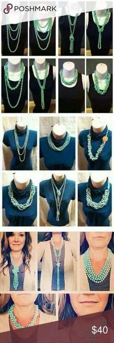 """The photos explain it all. This convertible necklace is perfect for any occasion. Dress it up or dress it down. Wear it long, or tied it up. 36"""" of seagreen ombre beads, coloring varies between beads, they are designed this way. Perfect condition. New, never worn. * More info could be found at the image url. #sac"""