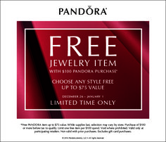 Our post holiday promotion is here! With a qualifying in-store purchase, you'll receive a FREE piece of jewelry until 1/1. #Pandora