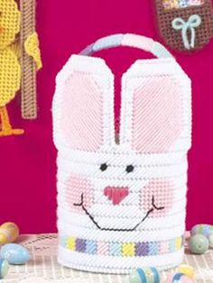 Plastic Canvas - Special Occasions - Easter Treats - Rainbow Bunny Basket - #FP00322