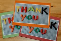 Lego Party Thank You's - would work for invites too . .take a picture and get copied ..  hmm