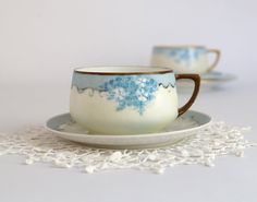 Antique Austrian Cup and Saucer Forget Me Nots Porcelain Cup and Saucer, Hand Painted during WWI by TheHeirloomShoppe on Etsy