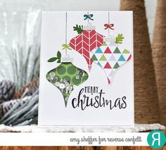 The Vintage Ornaments stamp set features 5 ornaments with Christmas sentiments along with an ornament hanger and 2 different size bows. Coordinating Confetti Cuts die set available. Set of 8 stamps Ornament x Silver Christmas Decorations, Christmas Door Wreaths, Diy Christmas Tree, Vintage Christmas Ornaments, Christmas Balls, Handmade Christmas, Christmas Ideas, Ornaments Ideas, Christmas Projects