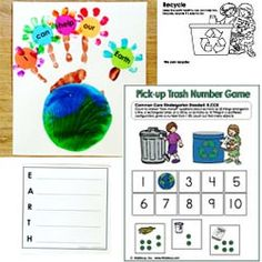 Earth Day crafts, writing, activities, and math common core aligned folder game and lots more activities and resources to help children learn about our environment and how to preserve our planet.
