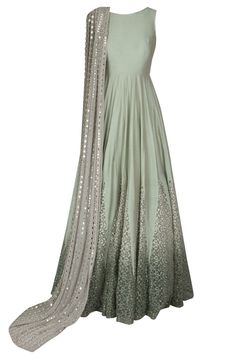 Mint green dori thread embroidered anarkali with mirror work embellished dupatta available only at Pernia's Pop Up Shop.