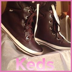 """Funky Like a Monkey"" Fun BNIB boots!! These are TOO fun!! Keds, people!! Genuine rich chocolate brown leather with faux fur insides! White and brown shoelaces! From sole to top is 8 inches! You can do-wop everywhere in this footwear fun. Keds Shoes"