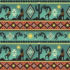 "45/"" w Southwest Indian Kokopelli Coyote Saguaro cactus Aztec cotton fabric BTY"