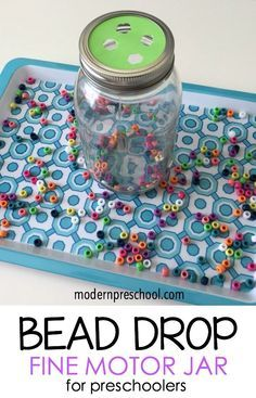 Bead Drop Jar - simple, fine motor activity you can make using recycled objects and things you likely have in your classroom.