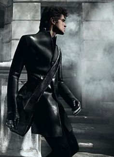Model Marlon Teixeira sizzles in the Emporio Armani Fall 2010 campaign, where he's captured by photographer Mario Sorrenti in a foggy urban landscape. Marlon Teixeira, Mario Sorrenti, Dark Fashion, Leather Fashion, Gothic Fashion, Mens Fashion, Fetish Fashion, Steampunk Fashion, Fashion Wear