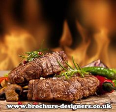 mouth watering fire roastes steak image perfect for steakhouse menu design www.brochure-designers.co.uk #steakhousemenu #steak #chargrilled