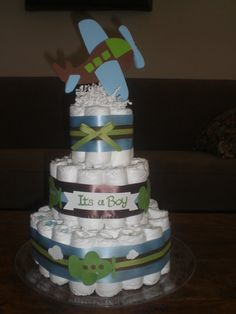 Airplane Diaper Cake baby shower centerpiece Thre tier cake or gift other sizes and colors too room Zroom Baby Shower Vintage, Baby Shower Fun, Shower Party, Baby Shower Gifts, Baby Gifts, Shower Time, Airplane Diaper Cakes, Dipper Cakes, Travel Baby Showers