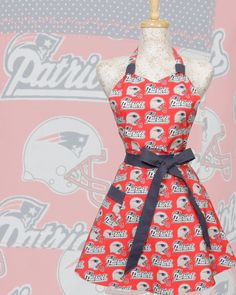 Patriots Circle Skirt Apron is made and ready to ship    Vintage inspired Patriots Apron is made of NFL football New England Patriots fabric with