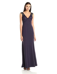 Adrianna Papell Womens Beaded Shoulder V Neck Rouched Bodice Gown Prune 12 ** Want to know more, click on the image.(This is an Amazon affiliate link)