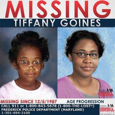 "Tiffany Goines  Missing SinceDec 5, 1987 Missing FromFrederick, MD DOBDec 22, 1974 Age Now41 SexFemale RaceBlack Hair ColorBlack Eye ColorBrown Height5'0"" Weight78 lbs Age Progressed Tiffany's photo is shown age-progressed to 37 years old. She was last seen on December 5, 1987 getting into a light blue Chevrolet Impala.  #tiffanygoines #missingchild  #missing #haveyouseenme"