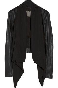 Canopus draped georgette and leather jacket - Muubaa