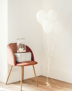 white balloons beside jar on book and chair 30 Before 30 List, White Balloons, What Is Life About, Accent Chairs, 30th Birthday, Furniture, Connect, Third, House