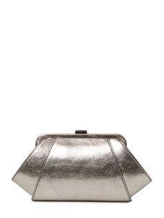 Metallic Leather Posen Clutch by ZAC Zac Posen