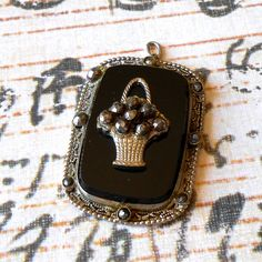 Your place to buy and sell all things handmade Shabby Chic Jewelry, Mourning Jewelry, Vintage Items, Vintage Art, Flower Basket, Art Deco Jewelry, Silver Flowers, Black Glass, Large Black