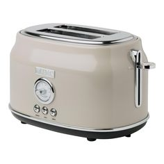 Haden Dorset 2 Slice, Wide Slot, Stainless Steel Toaster with Browning Control and Cancel, Defrost and Reheat Settings (Putty Beige) Stainless Steel Toaster, Stainless Steel Countertops, Retro Toaster, Vintage Toaster, White Toaster, Tabletop, Thing 1, Target, Kitchen Essentials