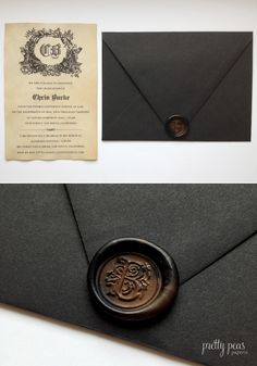 Custom Wax Seal Graduation Invitation made with tea-stained paper // Pretty Peas Paperie