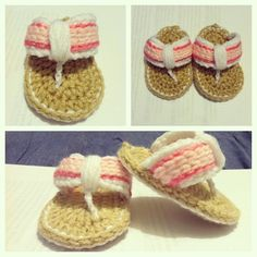 Pink Baby Crochet Sandals Newbown12 Months by astitchintime36, $12.00