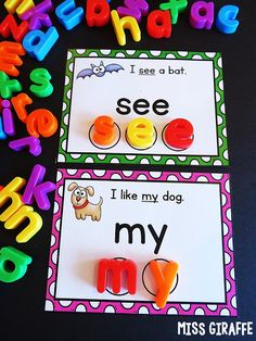 This can help them build words and see the use of letters in other words as well. Sight words activities for kindergarten first grade or even second grade that use adorable pictures AND easy simple sentences to make learning sight words a lot of fun! Preschool Sight Words, Learning Sight Words, Sight Word Activities, Spelling Activities, Alphabet Activities, Kindergarten Lesson Plans, Kindergarten Centers, Kindergarten Activities, Kindergarten Language Arts