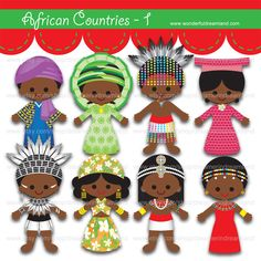 Children of the World African Countries 1 - PNG SVG EPS Vector Instant Download Printable Cliparts Clip Arts Digital File Scrapbooking Kit by clipartsuperstore on Etsy
