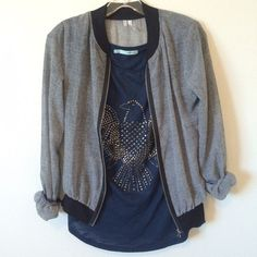 Sheer Silky Baseball Jacket Grey sheer baseball jacket.  Zip up.  Silver hardware.  Black cuffs and bottom trim.  Love this- it just doesn't fit my shoulders. Maurices Jackets & Coats