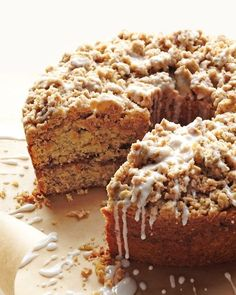Cinnamon-Streusel Coffee Cake - Streusel, derived from an Old German word that means something strewn, is quick and easy to toss together. The topping adds a sweet crunch to the sour cream cake. A basic glaze dresses up the dessert.