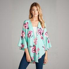 * PRE-SALE * Mint Floral Kimono