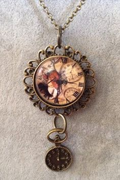 Mad Hatter Necklace and Clock Charm by CutesyandFun on Etsy