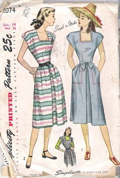 "Simplicity 2074 Vintage 1940's ""Simple to Make"" Misses' and Women's One-Piece Dress or Jumper; Size 14"