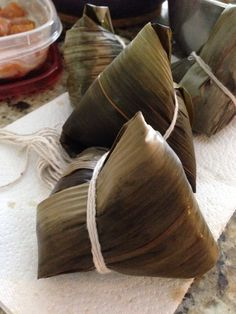 Rice dumplings wrapped with bamboo leaves
