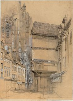 Architectural Drawing Ideas John Ruskin (British, Abbeville 1852 Ink and wash and pencil heightened with white on buff coloured paper - (c) Trustees of the Cecil Higgins Art Gallery 2010 Art Sketches, Art Drawings, Art Et Architecture, Architecture Portfolio, John Ruskin, Modelos 3d, Pre Raphaelite, Urban Sketching, Urban Landscape