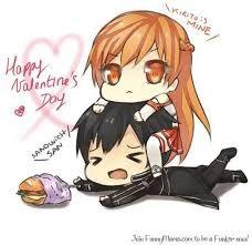 Happy Valentines day... wait, NANI?! Chibi! Asuna and Kirito and the sandwich, on Valentines
