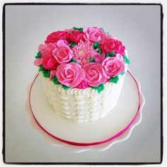 Buttercream flowers and basket weave cake