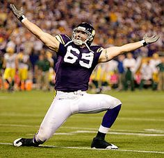 Defensive end Jared Allen of the Minnesota Vikings celebrates after a sack  during the Monday Night Football game against the Green Bay Packers on  October ... ad0187a3a