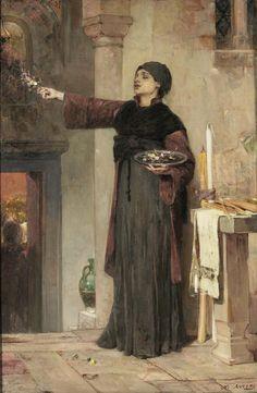 Λύτρας Νικηφόρος (1832 - 1904) Άνθη επιταφίου, 1901 Λάδι σε μουσαμά, 80 x 51 εκ. Κληροδότημα Απόστολου Χατζηαργύρη αρ. έργου: Π.48 Lytras Nikephoros (1832 - 1904) Funeral Flowers, 1901 Oil on canvas, 80 x 51 cm Apostolos Chatziargyris Bequest inv. no: Π.48