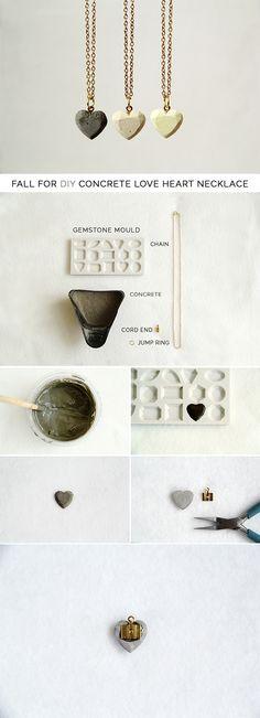 Concrete heart necklace DIY.