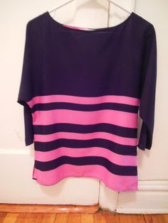 LOFT Colorblocked Navy Top - $18