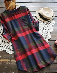 New Fashion in! Get this plaid dress with free shipping Now! It is so cute detailed with front pockets! Best item for this season to pick up at Cupshe.com