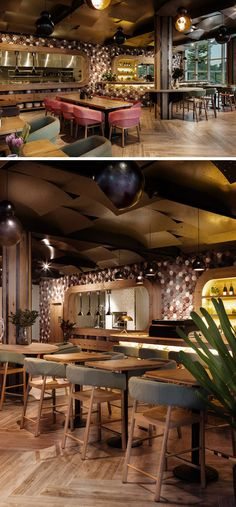10 Unique Coffee Shops In Asia / Emma Maxwell Design designed the unique interior Cafe Melba at Mediapolis in Singapore by using hand crafted, 3-dimensional hexagon shaped concrete wall tiles.
