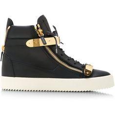 Giuseppe Zanotti Birel Metal and Leather High-Top Sneakers